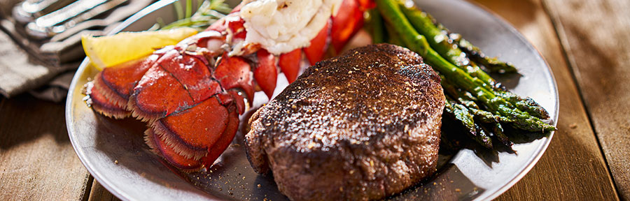 tasty surf & turf steak and lobster meal