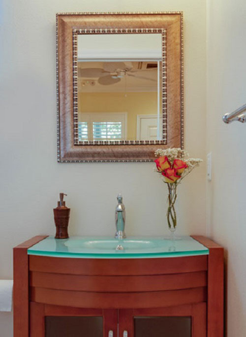 bathroom vanity in the Yellow Hibiscus Room